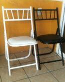 silla tiffany plegable de metal con asiento de vinilo